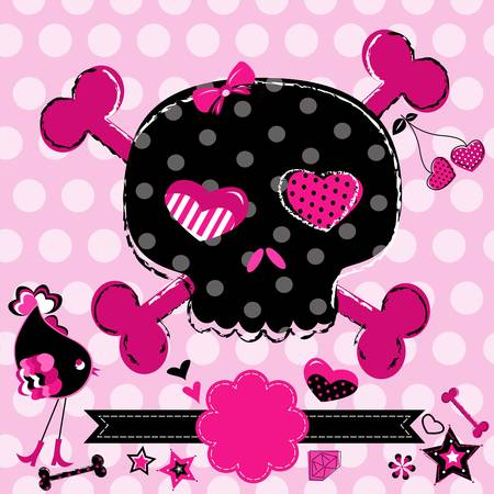 cute aggressive girlish black and red skull on pink background Vector