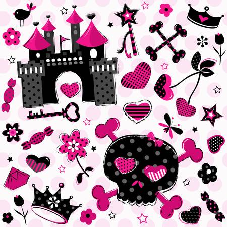 cute aggressive girlish black and red elements set on pink background