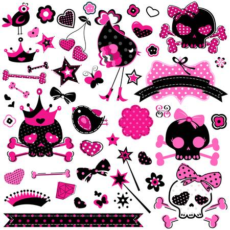 girls with bows: large set of wild girlish cute skulls and other elements