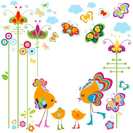 fashion birds card with colorful flowers and butterflies Illustration