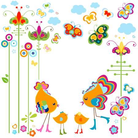Mode Vögel Karte mit bunten Blumen und Schmetterlingen Illustration