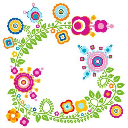 birthday flowers: kleurrijke bloemen card, retro-stijl