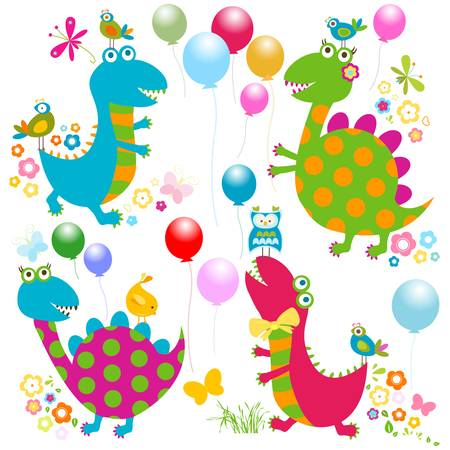 dinos card, happy cute colorful dinosaurs  Vector