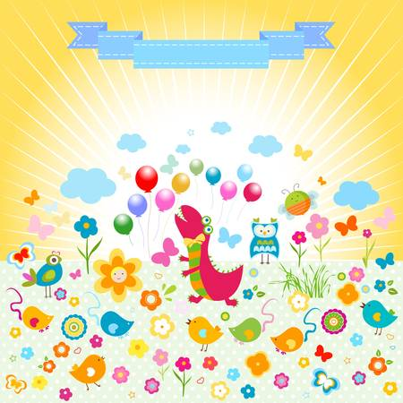 colorful dinosaur party, cute happy animals and flowers background Stock Vector - 20300446