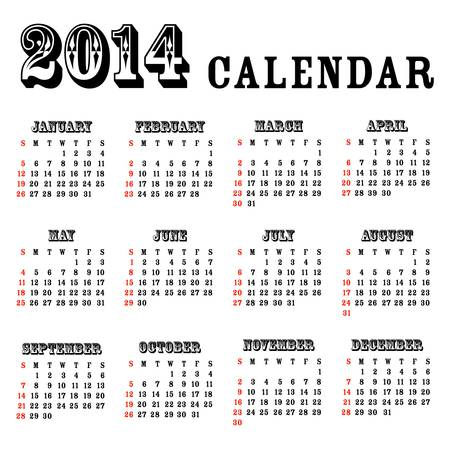 2014 simple calendar - illustration Vector