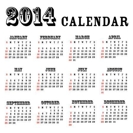2014 simple calendar - illustration Stock Vector - 20753000