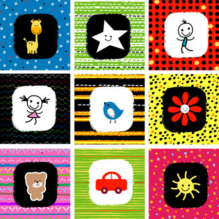 colorful cute baby pattern set