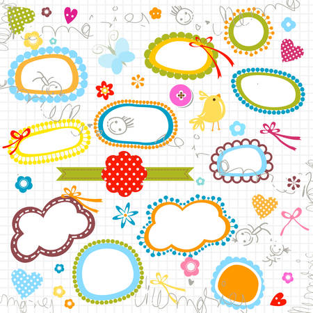 scribbled notebook page, labels, flowers, hearts Vector