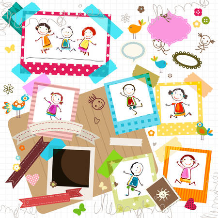 pink ribbons: happy kids and photo frame