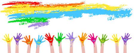 manos: manos coloridas  Vectores