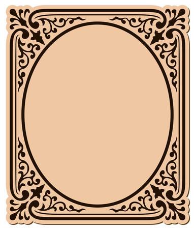 oval shape: decorative frame with swirls  surrounding an oval shape