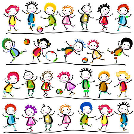 stylized: group of happy children playing Illustration
