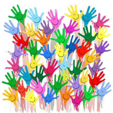 bunte Hände mit lächelnden Gesichtern