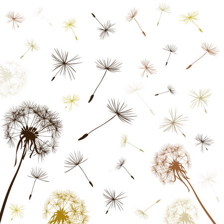 dandelions flying in the wind Иллюстрация