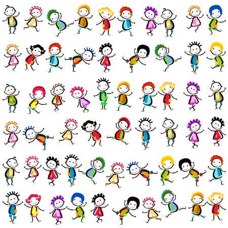 Groupe d'enfants heureux jouant Banque d'images - 32349081