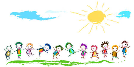 group of happy children playing Illustration