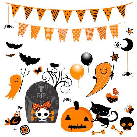 halloween kids: halloween cute elements set