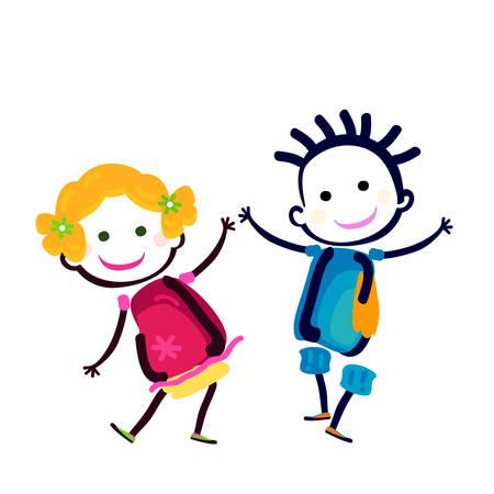 happy girl and boy Illustration