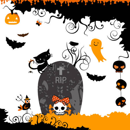 halloween themed design with a little cat on a grave stone