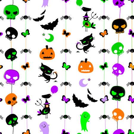 halloween themed seamless pattern with cute skulls, ghosts, cats, bats, pumpkins etc
