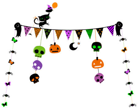 halloween party design with cat, ghosts, skulls Illustration