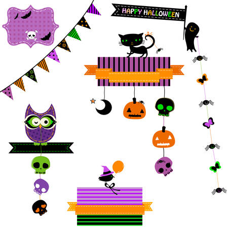 halloween greetings: happy halloween set with owl Illustration