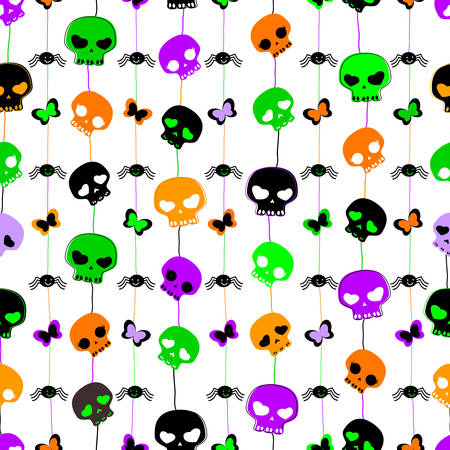 halloween themed seamless pattern with cute skulls Illustration