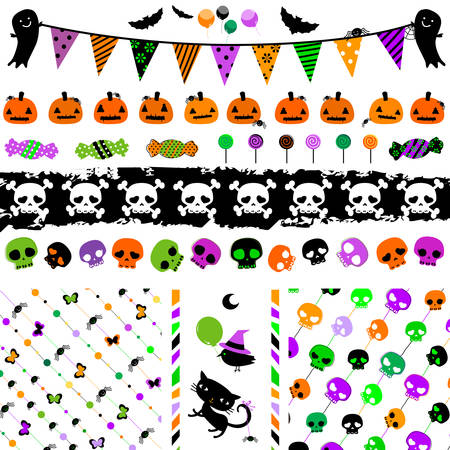 pumpkin border: halloween party themed set with cute elements