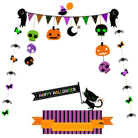 halloween party set with cat, ghosts, skulls