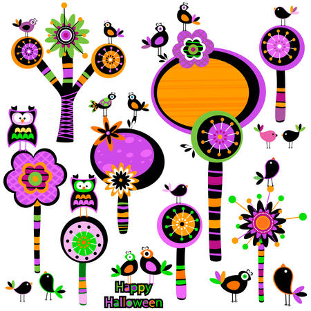 Halloween whimsy forest with trees and birds Illustration