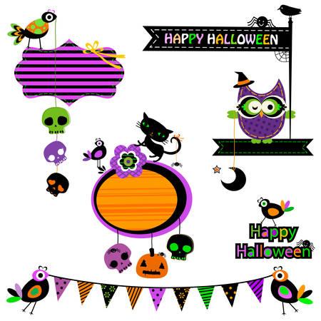 Halloween funny design elements set Vector