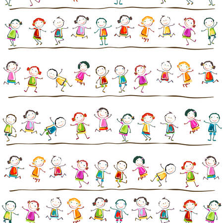 group of happy children playing Stock Illustratie