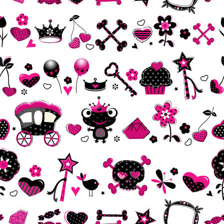 frog queen: aggressive style fashion seamless pattern in black, pink and red