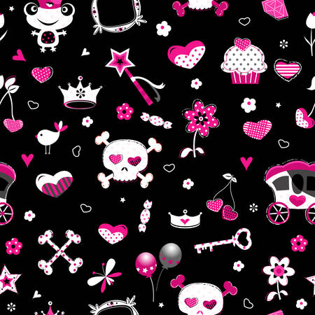 aggressive style fashion seamless pattern in black, pink and red Vector