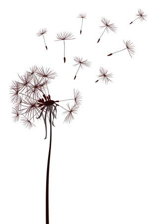 paardebloemen in de wind vliegen Stock Illustratie
