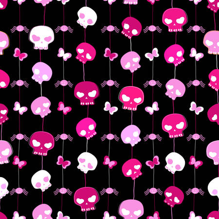 girlish aggressive cute black and red seamless pattern with skulls Vector