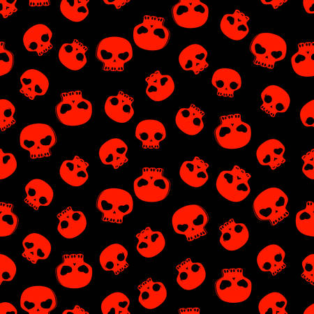 cute black and red skulls, seamless pattern Vector