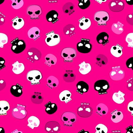 girlish aggressive cute black, pink and red skulls; seamless pattern Vector