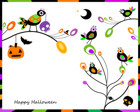 halloween card with happy crows sitting on tree branches Vector