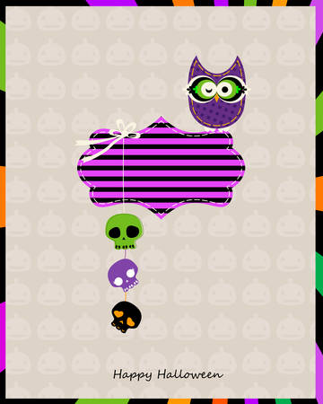 halloween card with owl and hanging skulls Vector