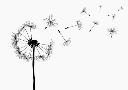 dandelions flying in the wind Stock Illustratie