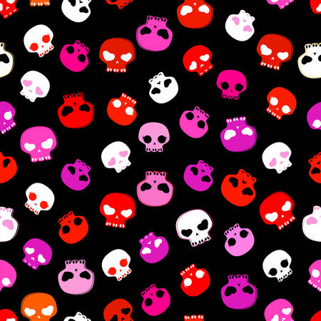 skulls against a black background, seamless pattern Vector
