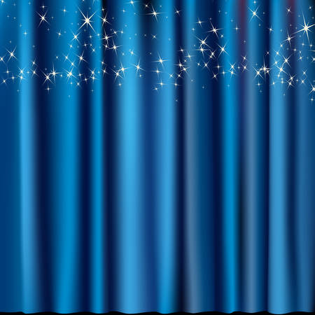 stage lights: blue curtain with stars Illustration