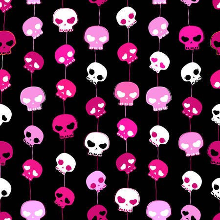 girlish: girlish aggressive cute black and pink skulls; seamless pattern with skulls