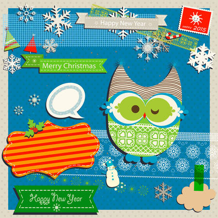 winter scrapbook template with cute owl Vector