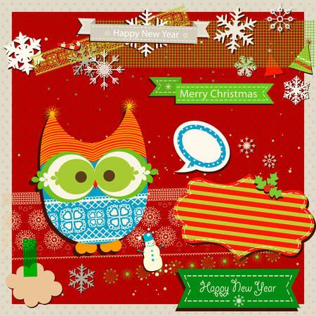 winter scrapbook template with cute owl Vector