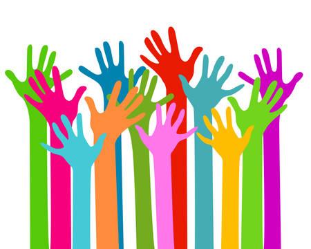 personas reunidas: las manos  Vectores
