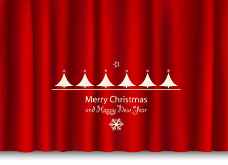 christmas and new year greeting on a red shiny curtain Vector