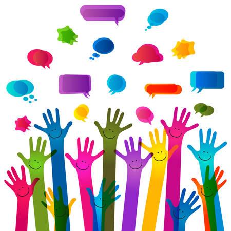 transparencies: hands with happy faces and bubbles speech, no transparencies