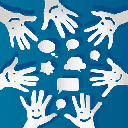 paper hands with faces and bubbles speech Vector